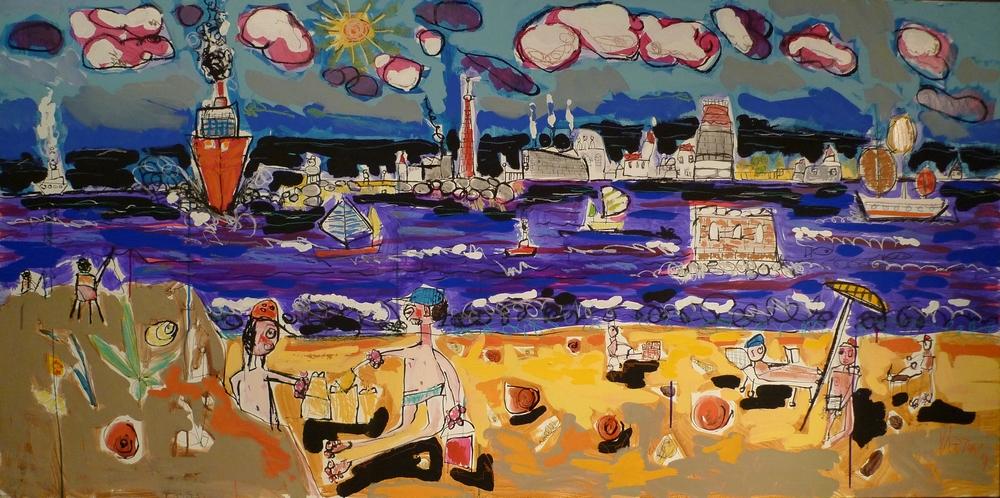L'île d'Oléron - Peinture de paysage - Figuration libre - Art Brut - 2015
