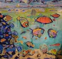 lespoissons-peinturepaysagesous-marin-figurationlibre-outsiderart