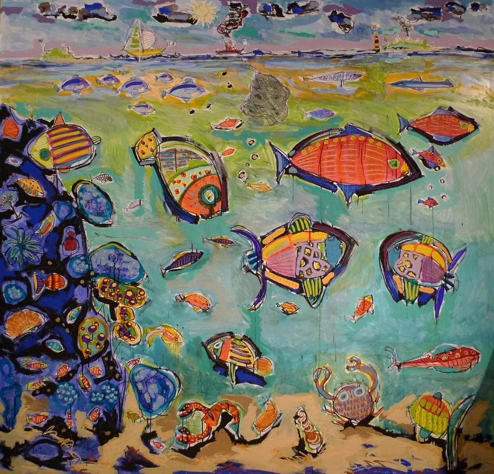 Les poissons - Peinture de paysage sous-marin - Outsider art - Art Brut
