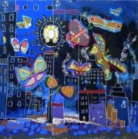 lespapillonsdenuit-peinture de paysage nocturne-figurationlibre-outsiderart