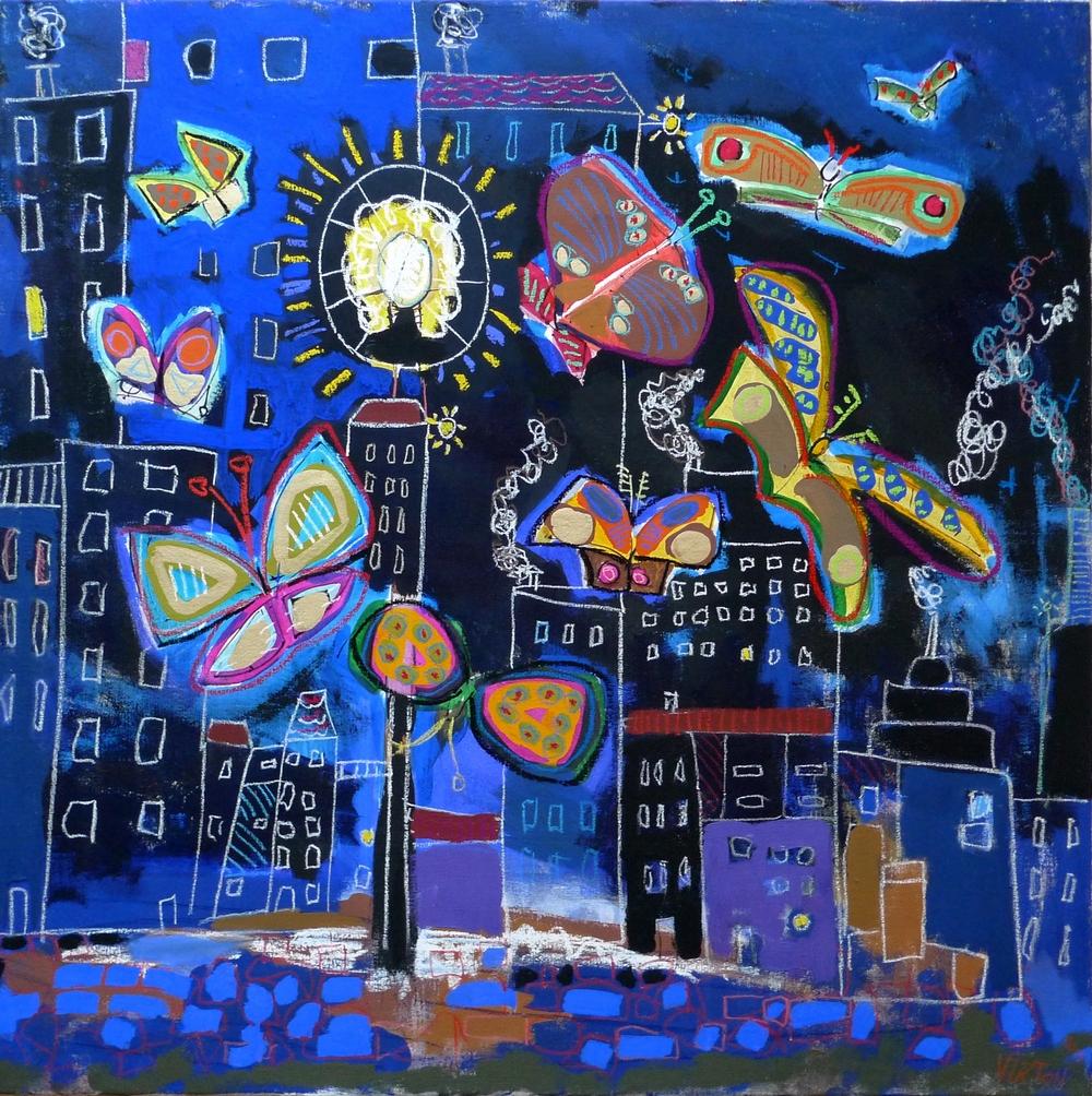 Les papillons de nuit - Peinture de paysage nocturne - Outsider Art - 2015