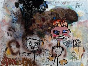blackandwhite-virton-outsiderartpainting-self-taught-primitivism-humanfigure-narrativepainting
